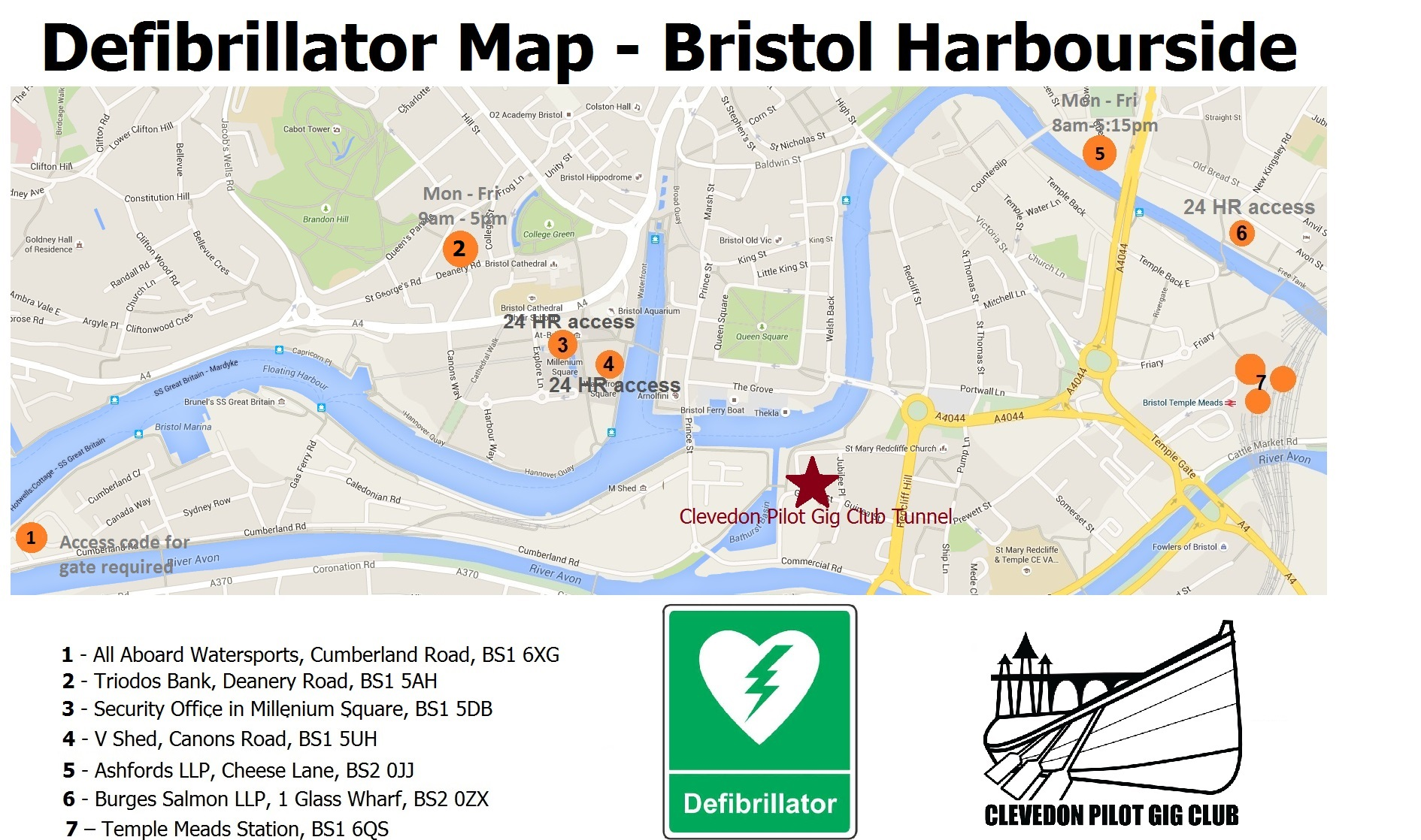Defibrillators Around Bristol Harbour Clevedon Pilot Gig Club